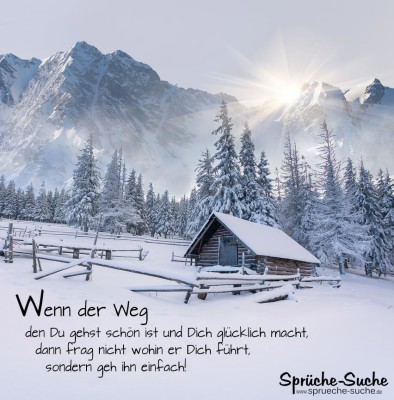 Schöne Winterlandschaft mit Berghütte als weises Spruchbild