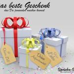 3 Geschenke mit Bändchen und schönen Sprüchen