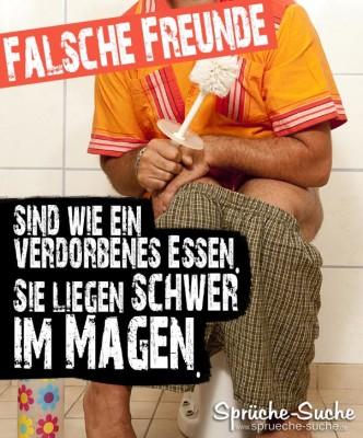 Falsche Freunde Sprüche - Mann auf Toilette mit Klobürste in der Hand