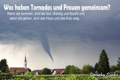 Frauen Tornado-Vergleich als lustiges Spruchbild