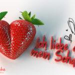 Ein Erdbeerherz mit Liebesgeständnis