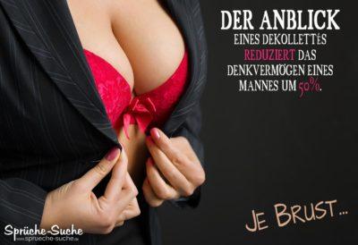 Große brüste im roten BH - Lustiges Spruchbild über Brüste