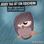 Spruch mit Eule auf Ast bei Regen: Scheiß Tag