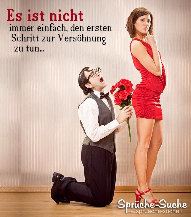 Versöhnung Spruch: Mann bettelt Frau im Roten Kleid um Versöhnung
