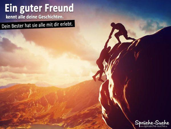 Freundschaftsspruch mit Bergsteiger an Felswand