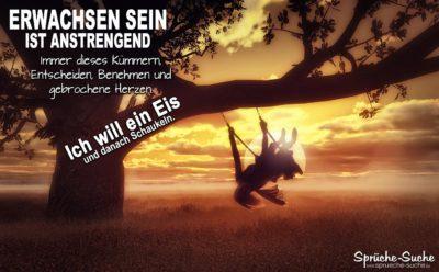 Erwachsen sein-Spruch mit Schaukel am Baum bei Sonnenuntergang