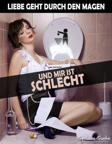 Frau auf Toilette - Liebe geht durch den Magen - Spruchbild