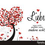 Schöner Spruch über Liebe mit Baum voller Herzen