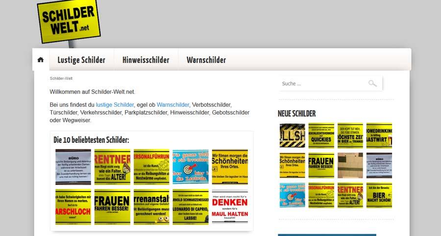 Auf Schilderwelt.net findest du viele lustige Schilder mit Sprüchen