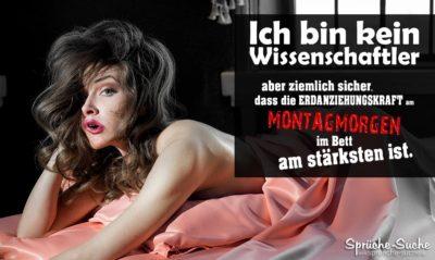 Montagmorgen-Spruch mit zerzauster müder Frau im Bett