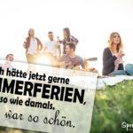 Sommerferien Spruch mit vielen Freunden auf Wiese