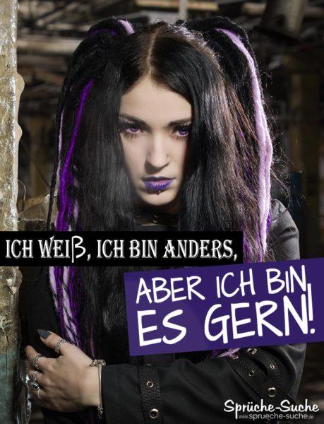 Sprüche Gothik Girl - Ich bin anders - Junge Frau mit Lila Lippen und langen Fingernägeln