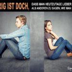 Beziehungsproblem-Spruch Partnerschaft - Mann und Frau schweigen sich an