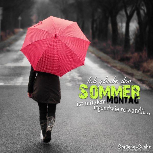 Schlechter Sommr Spruch - Roter Regenschirm