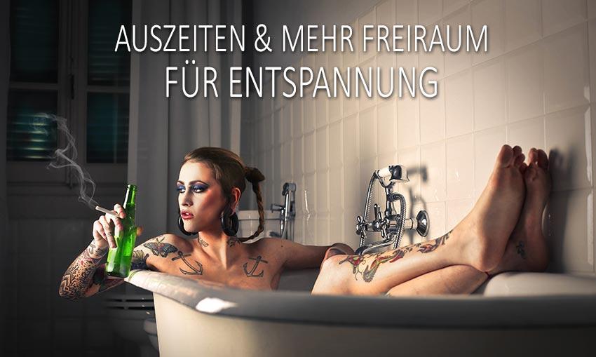In der Badewanne eine Auszeit nehemen