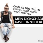 Dickschädel-Spruch lustig mit Punker