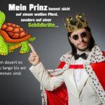 Traumprinz - Lustiger Spruch für Singles mit Prinz und Schildkröte