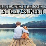 Gelassenheit im Leben - ja kein negativer Stress - Junge mit Hund auf Steg am See