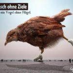 Schlittschuh laufender Vogel ohne Flügel