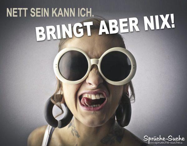 Coole Sprüche - Frau mit gerollter Zunge und runder Sonnenbrille