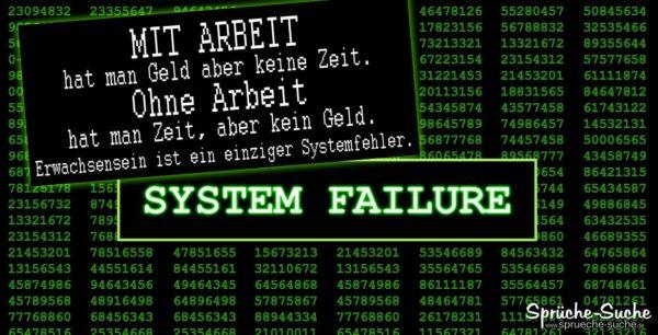 Systemfehler Erwachsen sein - Lustige Sprüche zum Nachdenken