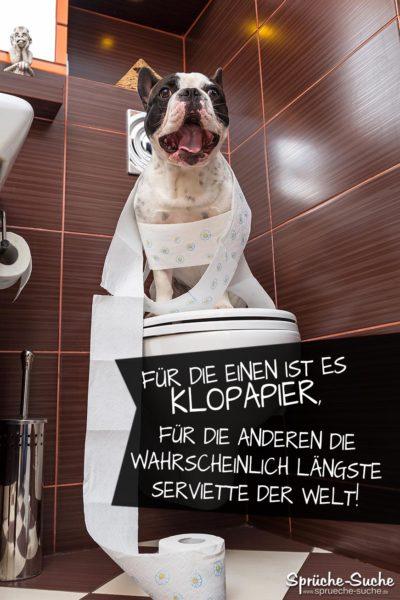 Klopapier, die längste Serviette der Welt - Lustiger Spruch mit Hund