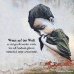 Armes Kind auf brüchige Mauer gemalt