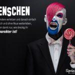 Böser geschminkter Mann mit roten verrücken Haaren und rundem Lolli in der Hand: Schlechter Charakter Sprüche