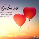 Liebe ist Sprüche - 2 Luftballons in Herzform