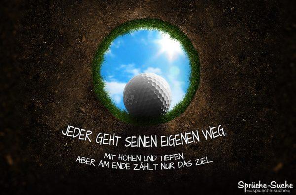 Golfloch mit Spruch über das Leben und Ziele
