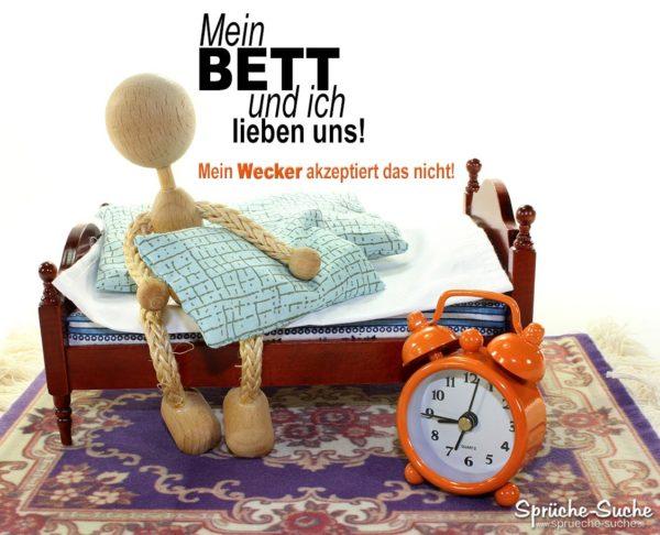 Wecker und Bett Sprüche