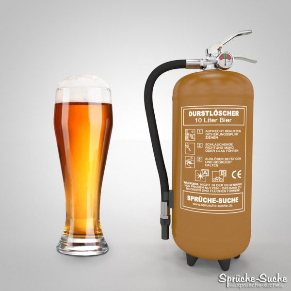 Durstlöscher Bier mit Bierglas und Löschgerät