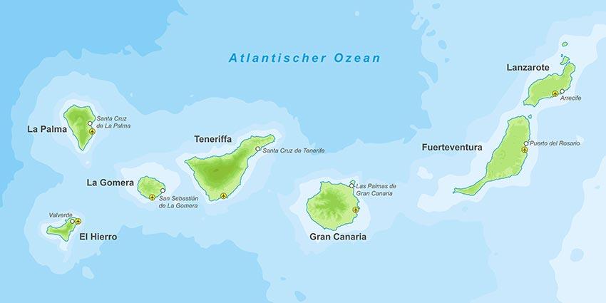 Kanaren Inseln Karte.Karte Der Kanarischen Inseln Spruche Suche