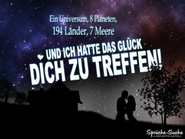 Liebe - Glück Spruch: Liebespaar bei nacht unter Sternenhimmel