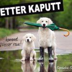 Schlechtes Wetter Spruch mit Hunden