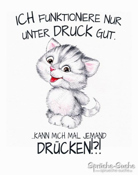 Ich funktioniere nur unter Druck - Spruchkarte mit niedlicher Katze als Zeichnung