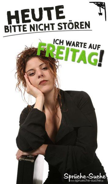 Warten auf Freitag Spruch - Gelangweilte Frau mit Aktenkoffer