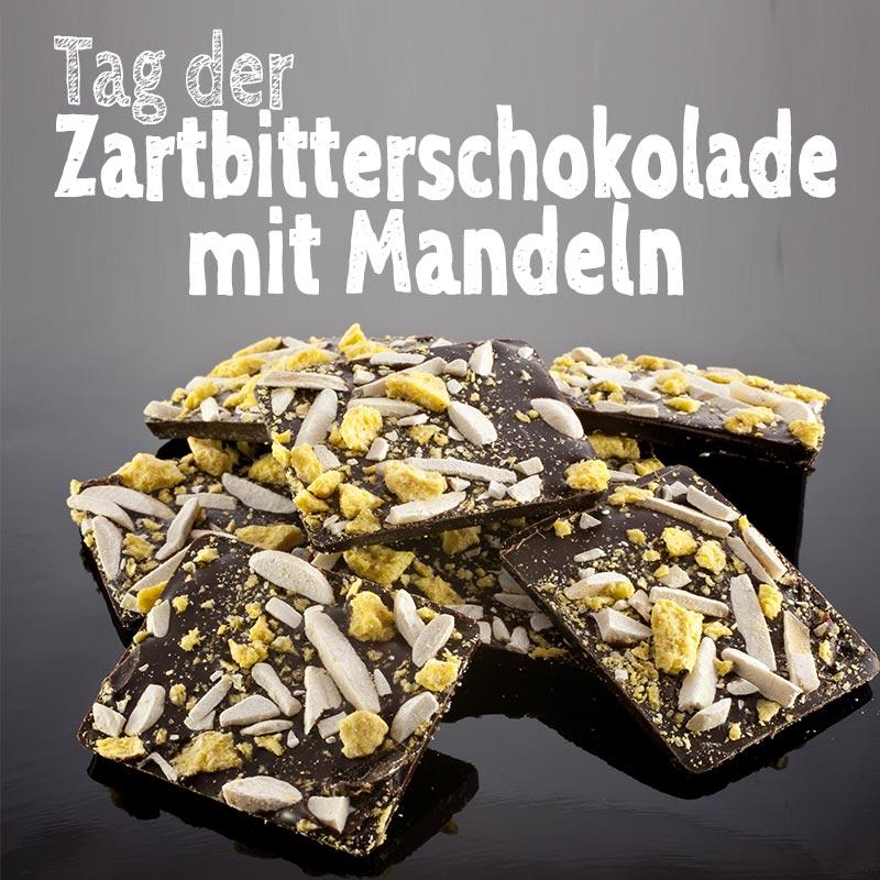 Tag der Zartbitterschokolade mit Mandeln