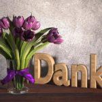 Danke sagen Karte mit Blumenstrauß - Tulpen