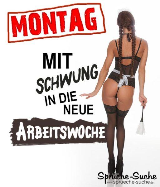 Frau im sexy Putzoutfit als lustiges Spruchbild zum Montag