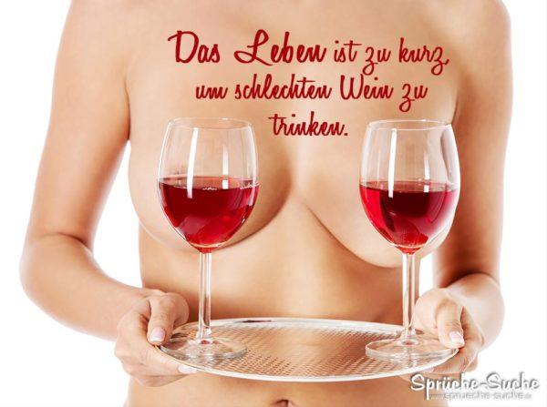Brüste werden von Weingläsern verdeckt - Spruchbild