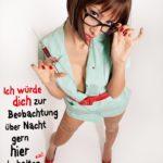 Sexy Krankenschwester mit Spritze in der Hand - Anmachspruch für Frauen