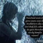 Ungerechtigkeit - Sprüche zum Nachdenken | Frau im Regen