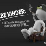 Junger Kiffer sitzt im Sessel und raucht einen Joint