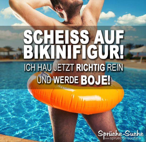 Lustiger BOJE Spruch - Dicker Mann mit orangefarbenen Schwimmreifen