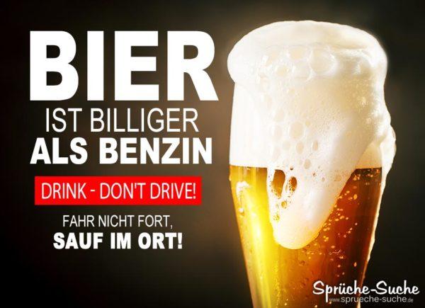 Volles Bierglas mit Schaum -Bier ist billiger als Benzin Spruch