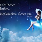 Frau auf Mondsichel - Spruch zum Nachdenken - Diener meiner Gedanken