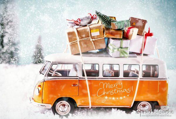 Merry Christmas Weihnachtskarte mit VW-Bus