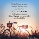 Sprüche mit Fahrrad zum Nachdenken über das Leben - Verliere niemals deinen Humor