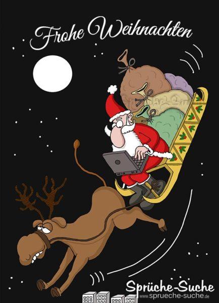 Frohe Weihnachten Karte - Weihnachtsmann im Schlitten mit Laptop und besoffenen Rentier.